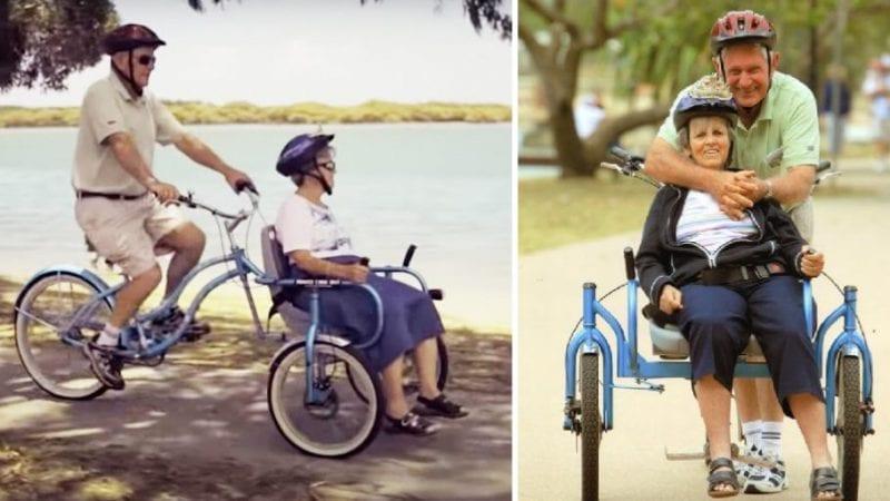 Il marito costruisce una bicicletta speciale per poter continuare a pedalare con la moglie che soffre di Alzheimer
